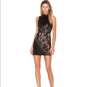 REVOLVE X by NBD LEATHER LACE DRESS